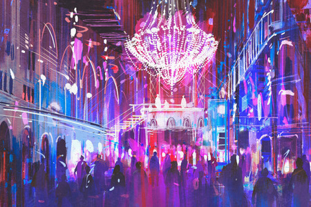night club interior: interior night club with bright lights,illustration painting