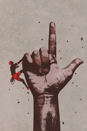 finger pointing up: big hand in finger pointing up sign with climber,illustration painting Stock Photo