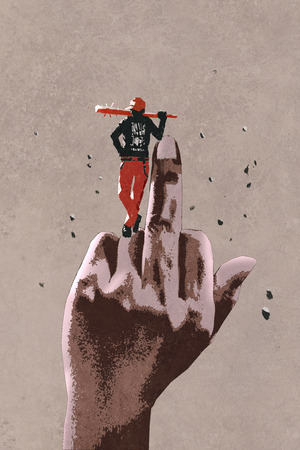 middle finger hand sign with bad guy holding wooden stick,illustration painting