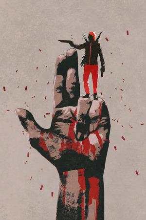 shooting gun: big hand in gun sign with man shooting gun,illustration painting