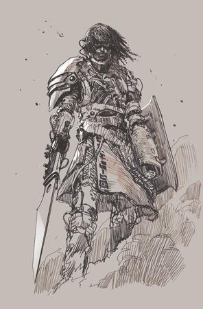 ブレード、図面、スケッチを持つ未来の騎士