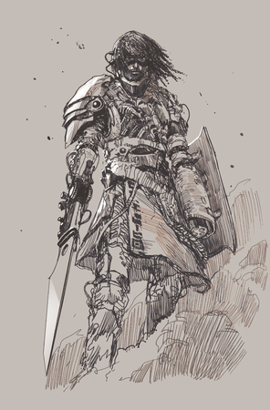 futuristic knight with blade,drawing,sketch