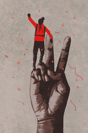 painting art: big hand in victory sign and man with arm raised,illustration painting