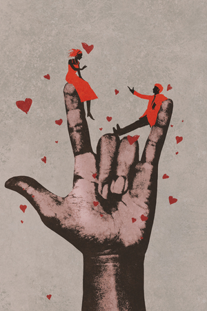 romance: big hand in I LOVE YOU sign with romantic couple in love,illustration painting