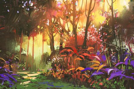 日光、イラストと美しい森の風景画 写真素材