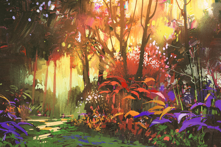 landscape painting of beautiful forest with sunlight,illustration Standard-Bild