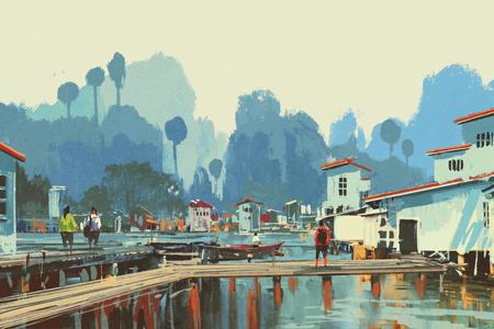 fishing village: landscape painting of river village,illustation Stock Photo