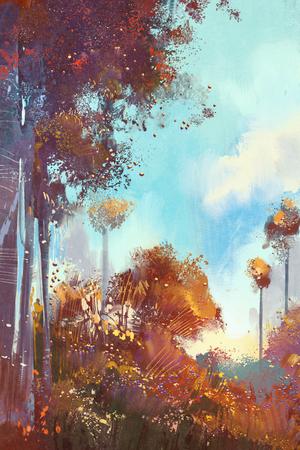 カラフルな森の植物と花、デジタル イラスト絵画