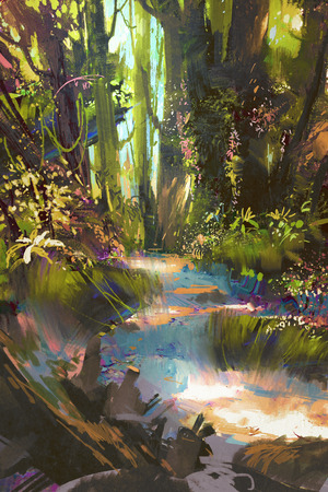 forest path: path in beautiful green forest in summer,landscape painting Stock Photo
