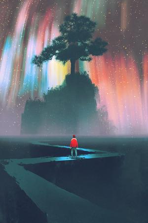 uomo comincia un viaggio su strada tortuosa per il grande albero contro il cielo notturno, illustrazione Archivio Fotografico