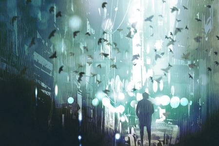 uomo che cammina in vicolo città abbandonata con gregge di uccelli, illustrazione pittura