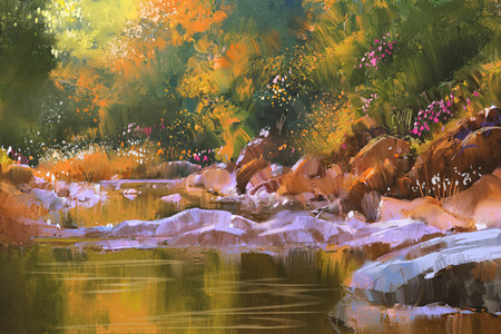 creek: river lines with stones in beautiful forest,nature,illustration painting
