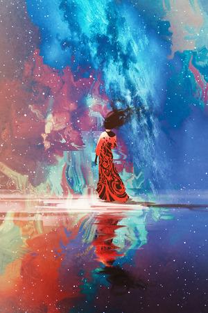 Femme en robe debout sur l'eau contre l'univers rempli d'étoiles, illustration Banque d'images - 56999522