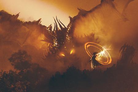 Appel du dragon, magicien monstre d'invocation, sorcier jette un sort Banque d'images - 59097208