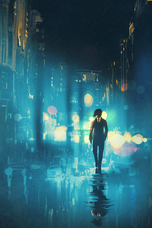 alone man: man walking at night on the wet street,illustration