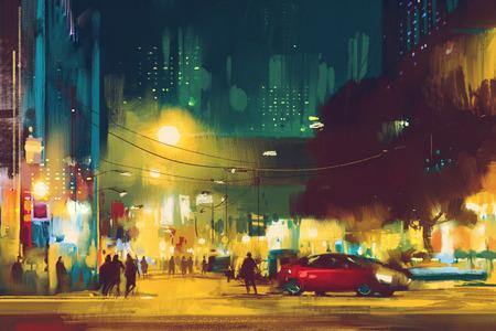 city street: night scene of cityscape with illumination,illustration art Stock Photo