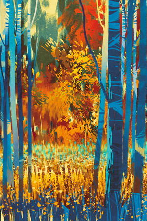 foreground: autumn forest with blue trees in the foreground,illustration art