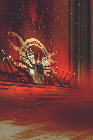 epic: dark fantasy throne with red curtains background,illustration