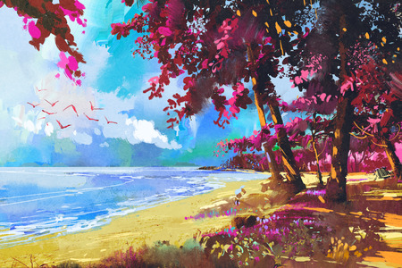 seascape: pink trees on the beach,summer,landscape illustration