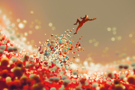a lot: man jumping up from lot of colorful balls,illustration art Stock Photo