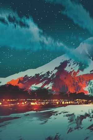 絵画の風景イラスト、山の村の夜景
