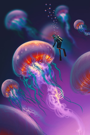 big jellyfishes and diver in fantasy underwater,illustration