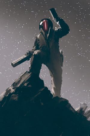 図 2 銃を握る未来スーツでサイエンス フィクション ゲーム文字