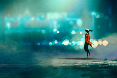 uomo che cammina di notte in città, splendido freddo bokeh, illustrazione