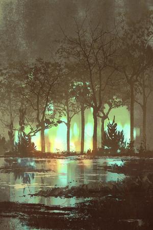 mysterieuze donkere bos met mystieke licht 's nachts, illustratie