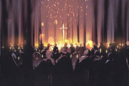 rouw, begrafenis, mensen deelnemen aan een wake en kaarsen in het bos, illustratie