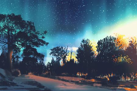 숲, 밤 풍경, 일러스트 레이션의 나무 위의 스타 필드