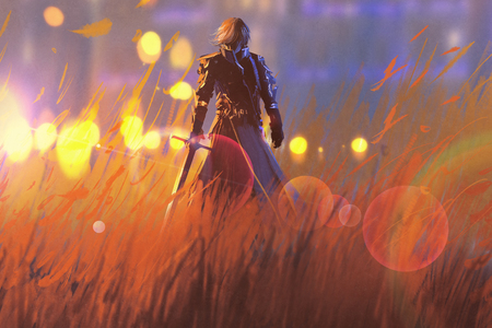 knight warrior standing with sword in field,illustration painting Standard-Bild