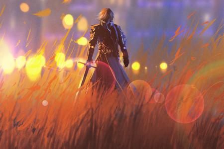 Rycerz z mieczem wojownika stojącego w polu, ilustracja malarstwo