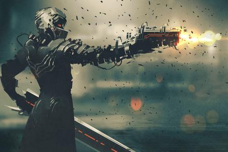sci-fi caráter do jogo no terno futurista visando arma, disparando arma, ilustração
