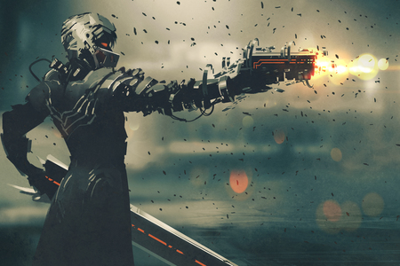 gaming: sci-fi gaming character in futuristic suit aiming weapon,shooting gun,illustration