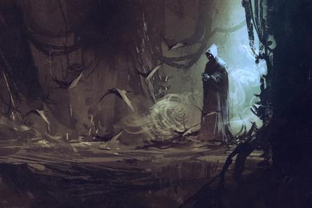 신비한 숲, 마법사, 주술사, 그림에서 검은 망토 스톡 콘텐츠