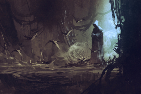scary forest: dark cloak in mysterious forest,wizard,sorcerer,illustration