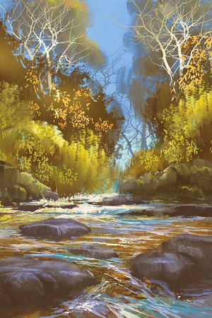 creek: landscape painting of creek in forest,river,waterfall,illustration