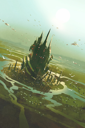 sci fi: aerial view of a futuristic city,sci fi scenery,illustration painting Stock Photo