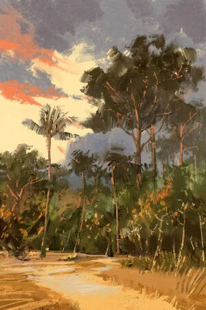 forrest: summer landscape painting,road leading to the tropical forest