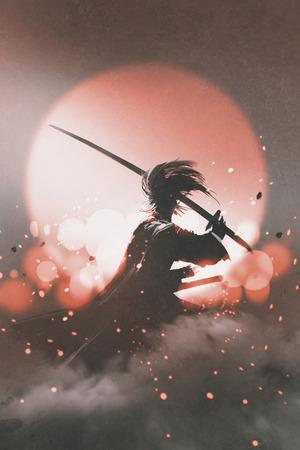 日没の背景、絵画の図に剣の地位と侍