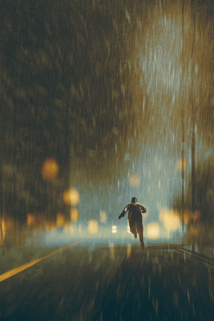 alone man: man running in heavy rainy night,illustration