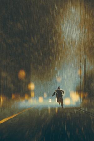 uomo che corre nella notte di pioggia pesante, illustrazione