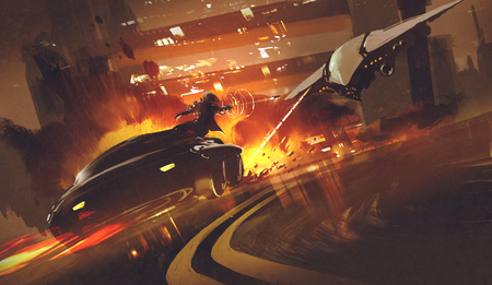 spacecraft: chase scene of spacecraft chasing futuristic car on highway,illustration