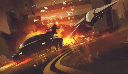 chase scene van ruimtevaartuigen jagen futuristische auto op de snelweg, illustratie Stockfoto