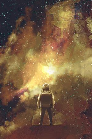 宇宙星いっぱいに立っている宇宙飛行士、絵画の図