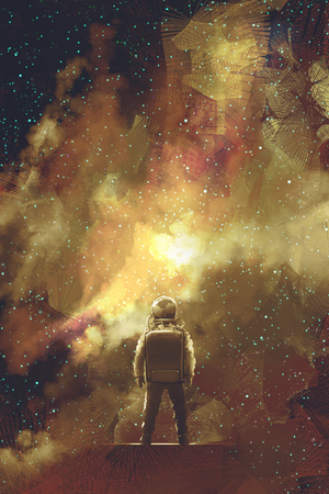 astronaut standing against universe stars filled,illustration painting