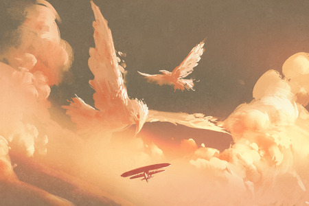 絵画イラスト夕焼け空の雲の形をした鳥 写真素材