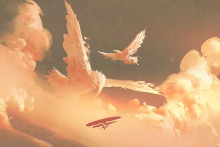 일몰 하늘에 새 모양의 구름, 그림 그림