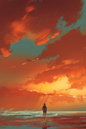 hombre solitario que se coloca en el mar bajo el cielo del atardecer, pintura ilustración Foto de archivo